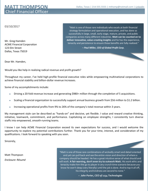 CFO Cover Letter Sample