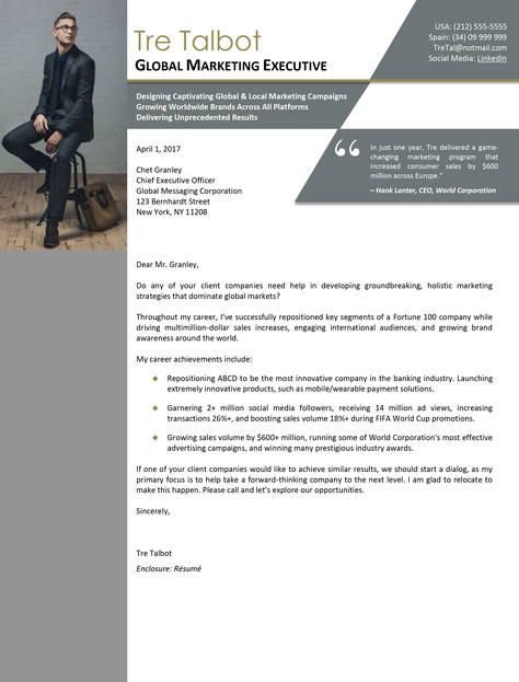 Global Marketing Executive Cover Letter Sample