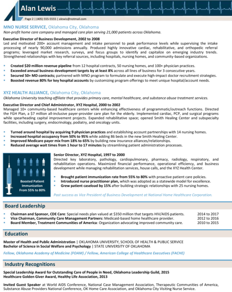Healthcare Executive Resume Sample: CEO / Board Leader Resume Example
